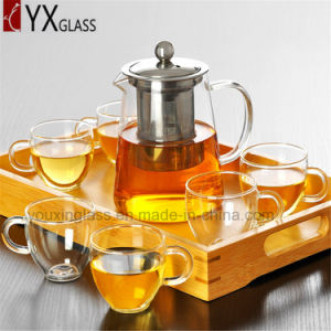 High Quality Heat Resistant Glass Tea Pot with Stainless Steel Strainer Flower Booming Tea Kettle Water Carafe Glass Teapot Set pictures & photos