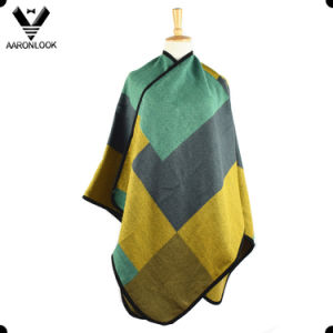 2017 Women Oversized Woven Geometric Patchwork Big Grid Shawl pictures & photos