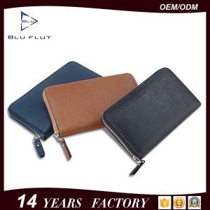 Custom Logo Acceptable Fashion Zip Closure Genuine Leather Handbag Wallets for Men pictures & photos