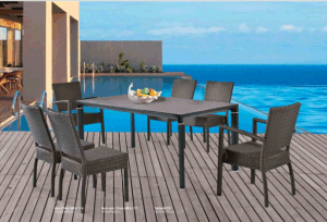 Outdoor Long Table with Rattan Chair Non- Armchair Chair pictures & photos