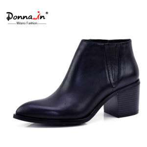 Lady Casual Pointed Toe Shoes High Heels Women Leather Boots pictures & photos