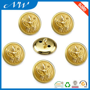 Metal Shank Sewing Gold Button with Raised Logo pictures & photos