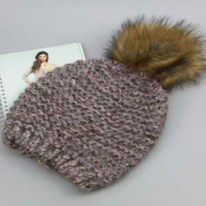 Winter Knitted Hat, Pink Color 100% Acrylic Hat with POM Poms, pictures & photos