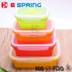 OEM 4 Pieces Silicone Folding Kids Lunch Box Set pictures & photos
