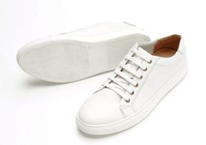 White Leather Casual Shoes with Rubber Outsole (CAS-049) pictures & photos