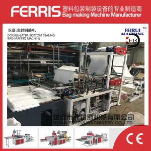 Double Lines Cold Cutting Polythene Bag Making Machine