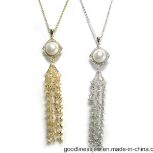Fashion Ladies 925 Silver CZ Stones and Pearl Long Necklace (N6818) pictures & photos