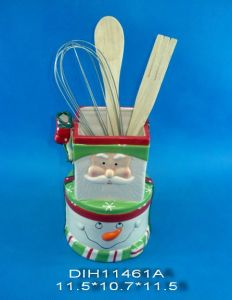 Hand-Painted Ceramic Santa Utensil Holder pictures & photos