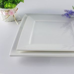 Customize Concise Ceramic Porcelain Square Hotel Dinner Plate Tray pictures & photos