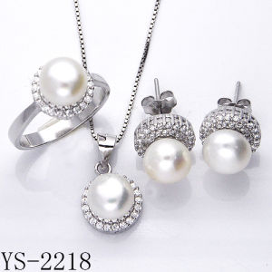Fancy Jewelry Sterling Silver Cubic Zirconia Fresh Water Pearl Set pictures & photos