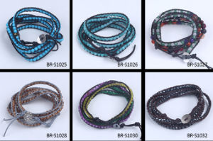 Multilayer Colorful Leather Chain Natural Stone Beads Bracelet Bangle pictures & photos