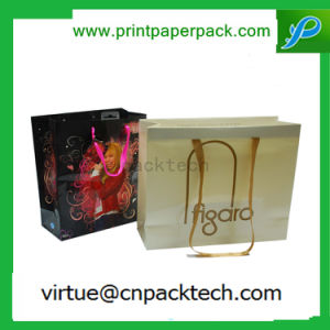 Various Logo Printed Luxury Promotional Shopping Kraft Paper Bag with Nylon Rope Handle pictures & photos