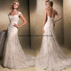 Lace Wedding Dress Cap Sleeves Appliques Full Length Corset Back Bridal Wedding Gown H132407 pictures & photos