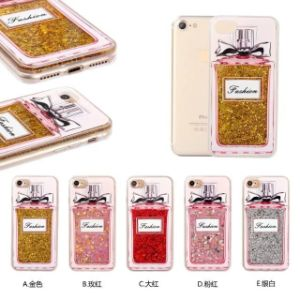 Sequins Wine Perfume Bottle Transparent PC Crystal Phone Case for iPhone 7 7s 6 6s Plus pictures & photos