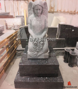 Blue Pearl Granite Kneeling Memorial Angel Cemetery Grieve Headstone pictures & photos