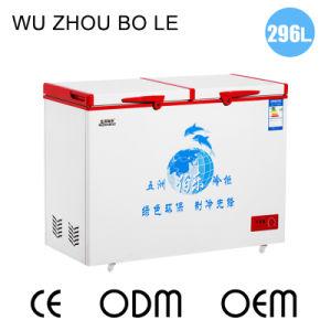Double Temperature Top Open Double Door Chest Freezer Universal Casters