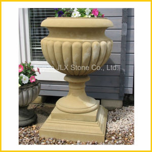 Yellow Sandstone Marble Garden Stone Pot pictures & photos