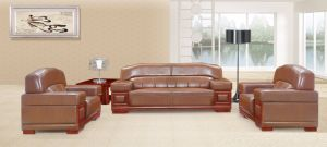 Italy Design Classic Wooden Office Furniture Leather Office Sofa (NS-E148) pictures & photos
