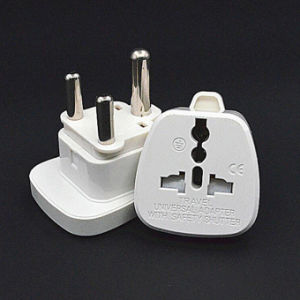 White Universal Us UK EU to South Africa Plug Adapter with Safety Shutter pictures & photos