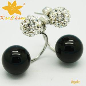 Ager-004 Unique Black Color 10mm Agate Silver Drop Earrings