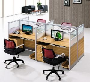 4 Seats Straight Desk Workstation Cluster Staff Office Partition (HX-NCD143) pictures & photos
