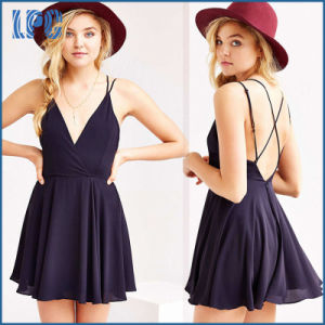 Chiffon Ladies Sexy V Neck Summer Dress pictures & photos