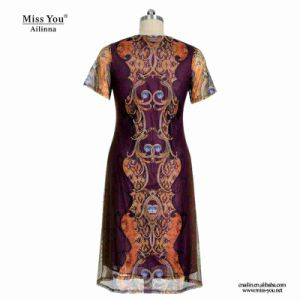 Miss You Ailinna 802076 Middle Aged Women Summer Casual Mesh Dress pictures & photos
