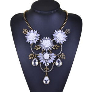 Punk Fashion Accessories Charm Crystal Flower Pendant Chunky Short Design Necklace