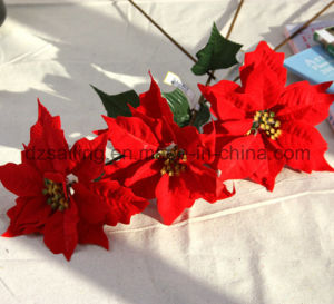 Big Artificial Poinsettia Flower for Christmas Home Decoration (SF15962)