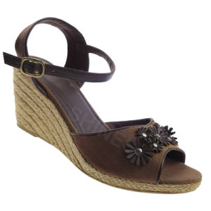 Brown Hemp Rope High Heel Fashion Sandal for Women