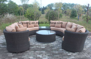 6 Pieces Curved Sectional Sofa Set Weave Rattan Furniture pictures & photos