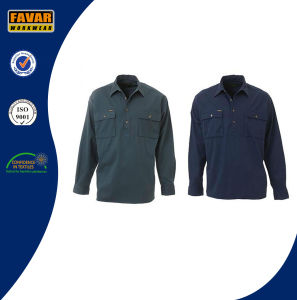 Cotton Drill Women Safety Work Shirts Two Pockets Uniform Work Shirt pictures & photos