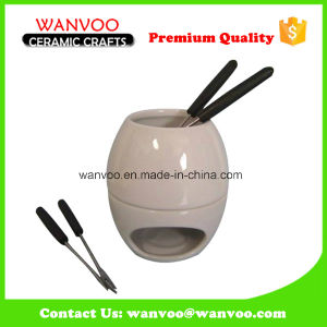 Best Selling Ceramic Fondue Sets with 4 Forks pictures & photos