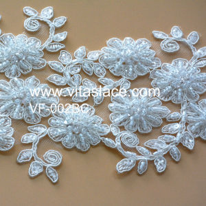 White Beaded Lace Appliques for Wedding Accessories Vf-002bc pictures & photos