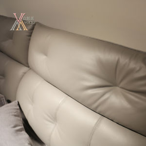 Top Grain Grey Leather Bed for Home (2106+12) pictures & photos