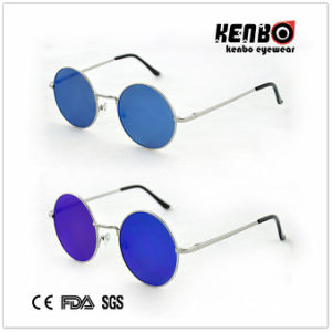 New Coming Round Frame Metal Sunglasses with Flat Lens Km15160 pictures & photos