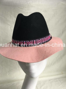 100% Wool Felt Winter Style Contrast Color Jacquard Weave Band Jacquare Design Wool Hat pictures & photos