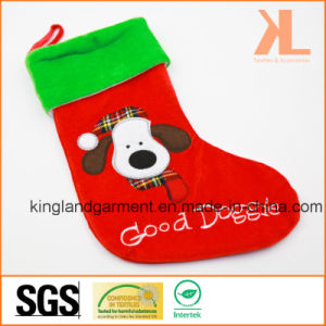 Quality Embroidery/Applique Velvet Good Doggie Dog Style Stocking for Decoration pictures & photos