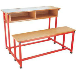 Chinese Classroom Furniture Wooden Double Student Desk and Chair (FS-3233) pictures & photos