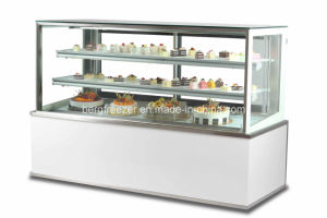 White Marble Square Glass Cake Display Cooler pictures & photos
