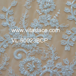 Ivory 1.4m Corded Lace Fabric for Table Cloth Vl-60023c pictures & photos