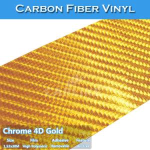 Gold 4D Chrome Carbon Fiber Film Car Wrap Vinyl Sticker