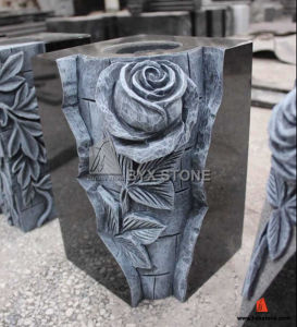 Black Granite Monument Flower Carving Vase for Gravestone pictures & photos