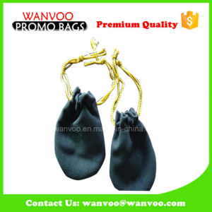 Customized Printed Logo Flannelette Jewelry Bags with Gold Cord pictures & photos