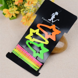 Girls Fashion Jewelry Star Wave Painted Metal Hair Clips (JE1024) pictures & photos