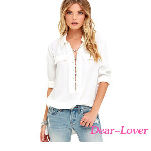 Fashion White Long Sleeve Lace-up Top pictures & photos