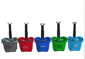 Top Quality Castor Plastic Shopping Basket (JT-AL-2) pictures & photos