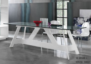 Modern Simple White Glass Table Italy Glass Dining Desk (NK-DT247-1) pictures & photos