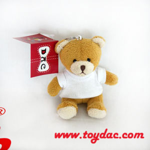 Stuffed Mini White T-Shirt Bear Key Ring pictures & photos