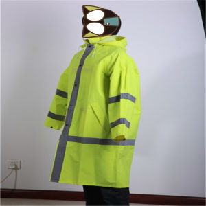 Fluorescence Green Rainwear with Reflective Tape pictures & photos